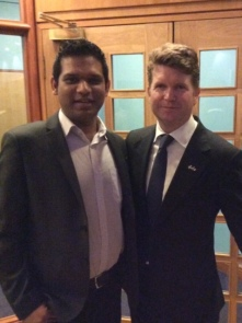 Shahid Khan and US Ambassador Matthew Barzun in Aberdeen